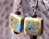 Robin's Egg Blue Square Ceramic Earrings