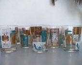 Fantastic vintage set of 8 drinking glasses.