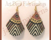 Beaded Earring Pattern - Art Deco Fish - Brick stitch