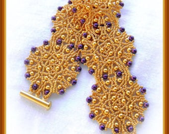 Beading Tutorial - Inca Sun bracelet - Netting stitch