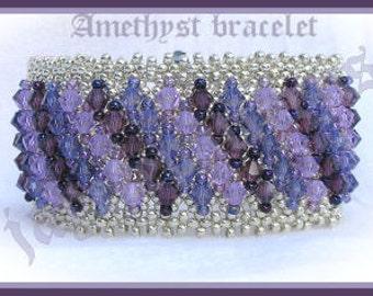 Beading Tutorial - Amethyst bracelet - Embellished netting stitch