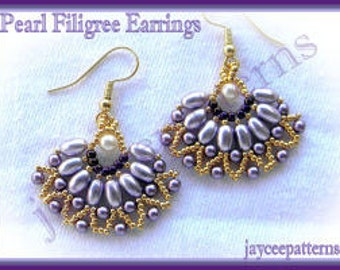 Beading Tutorial - Pearl Filigree earring - Netting stitch