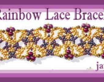 Beaded Bracelet Tutorial - Rainbow lace bracelet - Netting Stitch