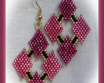 Bead Pattern - Shimmering Rose earring - Advanced brick stitch
