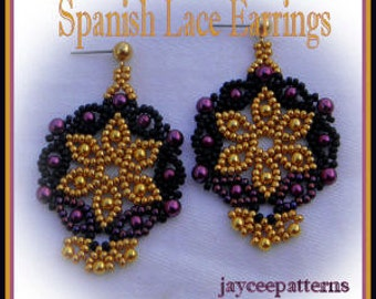 Beading tutorial - Spanish Lace earrings - Netting stitch