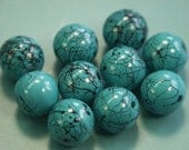 Lot of 10 unusual vintage 1960s turqouise bluegreen german glass beads with crack pattern for your beading prodjects