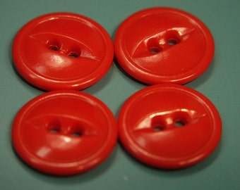 Lot of 9 vintage 1950s unused clear red plastic buttons for your sewing prodject