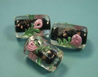 Lot of 3 lovely rare vintage 1980s handworked black foiled tubeformed glass rose beads for your beading prodjects