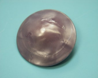 Large collectible vintage 1960s unused round light purple/lilac faux mother of pearl plastic button for your sewing prodject