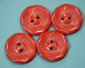 Lot of 5 vintage 1950s unused clear red plastic buttons for your sewing/decoration prodjects