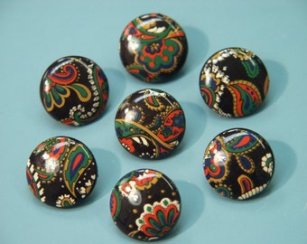 Lot of 7 unusual vintage 1980s unused small round screen printed indifferent pattern multicolor/black plastic buttons