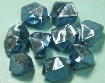 Lot of 50 vintage 1970s shimmering irregular molded blue plastic beads without holes