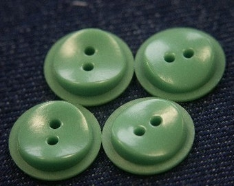 Lot of 10 small vintage 1950s unused green plastic buttons for your sewing prodjects