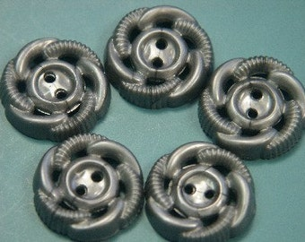 Lot of 10 vintage 1950s unused grey plastic buttons for your sewing prodjects