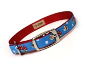 blue and red mushrooms metal buckle dog or cat collar (1/2 inch)