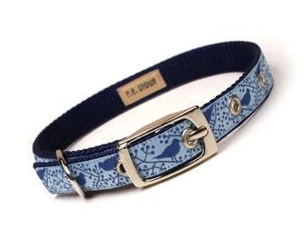 blue modern birds metal buckle dog or cat collar (1/2 inch)