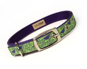 SALE - lime and purple modern birds metal buckle dog collar (1/2 inch)