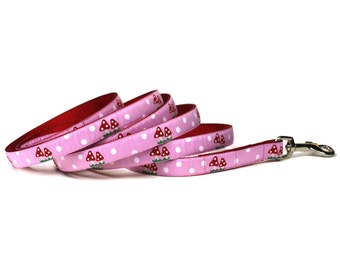pink and red mushrooms leash (1/2 inch)