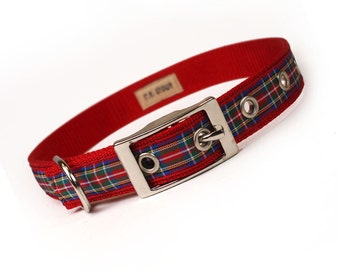 royal stewart tartan plaid metal buckle dog collar (3/4 inch)