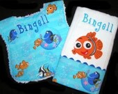 Personalized Baby Bib and Burp Cloth - Gift Set - Appliqued Orange Fish - White Chenille - Clown Fish