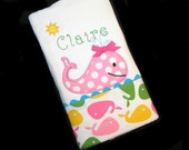 Personalized Baby Burp Cloth - Appliqued - Whale