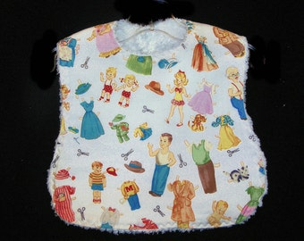 Baby Bib - Paper Doll Family - White Chenille