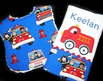 Baby Gift Set - Personalized Bib and Burp Cloth - Appliqued Fire Engine - White Chenille