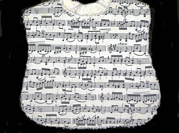 Baby Bib - Ivory Chenille - Musical Notes - Fun Novelty Bib - Treble in the Making