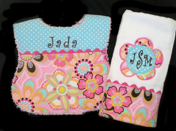 Personalized Baby Bib and Burp Cloth - Appliqued - Pink Chenille - Gift Set