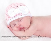 Baby Girl Hat - Crochet Baby Hat - Newborn Baby Hat - Pink with White Bow