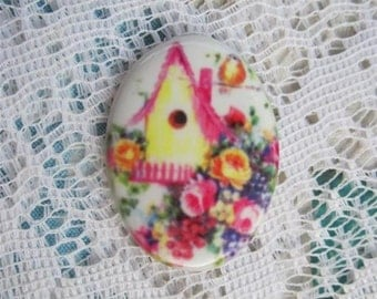 Birdhouse Cabochon Sweet Shabbu Chic Birdhouse Cameo .Fine Porcelain Glass Cameo 40x30mm Gorgeous Jewelry Supplies
