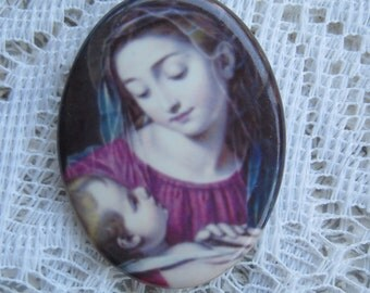 Religious Cabochon Madonna and Child Cabochon 40X30 Jewelry Design, Mosaics, Crafts