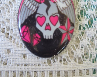 Tattoo Skull Cabochon Rock and Roll Cameo Tattoo Image on Porcelain Cameo  30X40 MM Ready to set