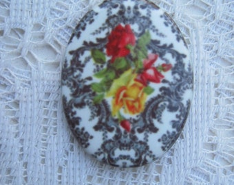 Gorgeous Roses over Super Chic, Black and White Damask, Fine Porcelain Cameo 40x30mm