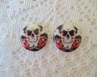 Skull Cabochons Tattoo Inspired Cabochons Pair of 18mm Fine Porcelain Cameos, Ready to be Set
