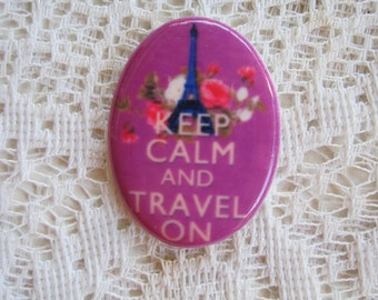 Keep Calm and Travel On Cabochon Keep Calm Cabochon Keep Calm Travel On Cameo 40X30 Unset.