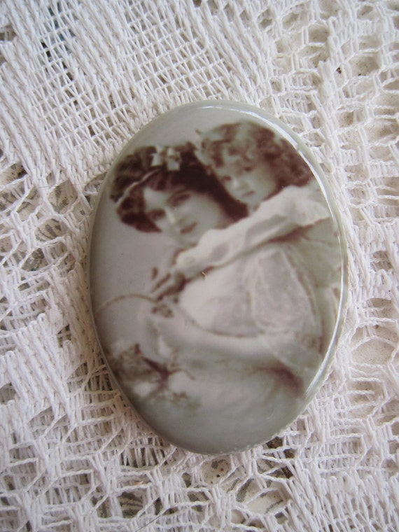 Precious, Mother and Daughter Antique/Vintage Photos, Retouched on a Fine Porcelain Cameo 40x30mm