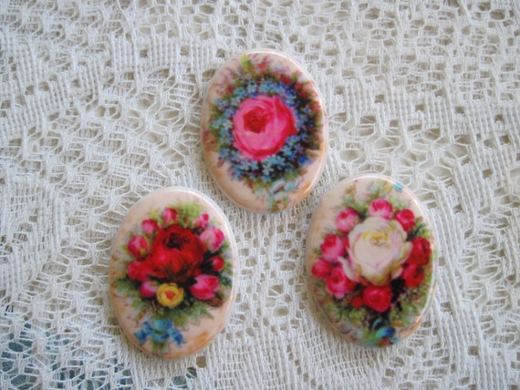 Roses Cabochons Rose Cameos Porcelain Glass Cabochons Rose Cameos Group of 3, Unset Porcelain Glass Cameos 40x30mm