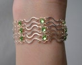 Sale Art Nouveau Bracelet in Peridot Green Swarovski Crystal