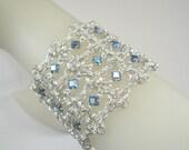 Rhombus Rumba Chain Maille Bracelet in Iridescent Sapphire Swarovski Crystal