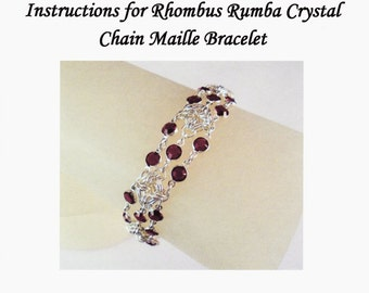 Rhombus Rumba Crystal Chain Maille Bracelet Instructions PDF
