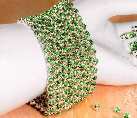 Diamond Meadows Cuff Bracelet in Peridot Crystal - Award Winning Design