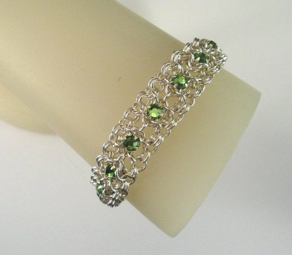 More Colors - Swarovski Crystal Chain Maille Ribbon Bracelet