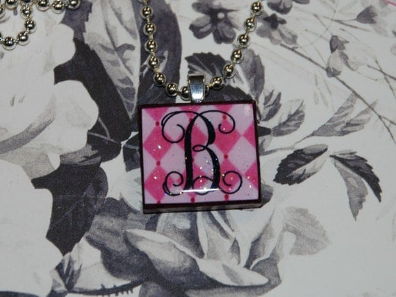 Pink Harlequin Custom MONOGRAM srabble tile pendant necklace Pretty Posh