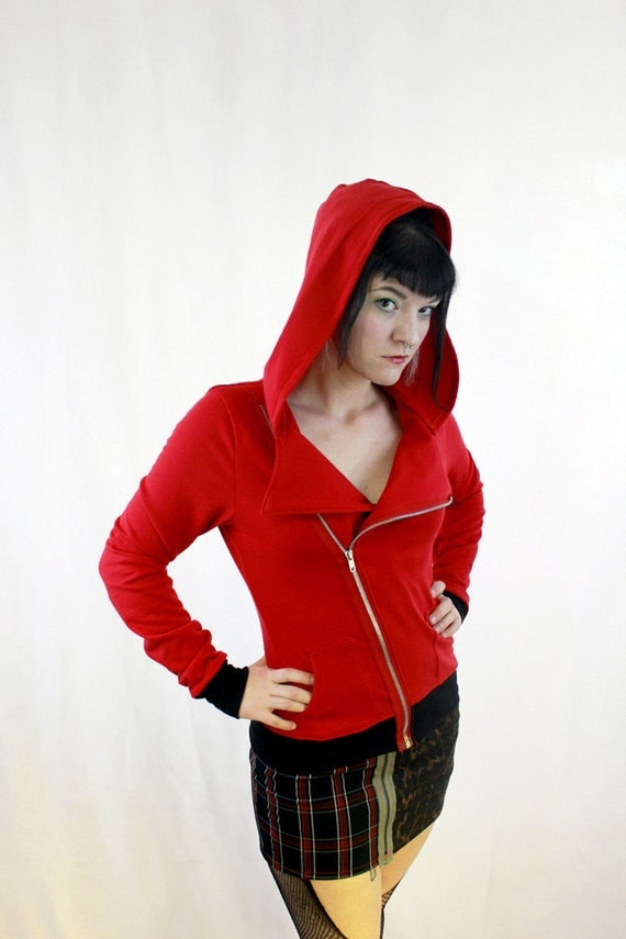 Organic Cotton Red Motorcycle Asymmetrical Hoodie Jacket Punk Bamboo Eco Friendly - Little Red Riding Hood