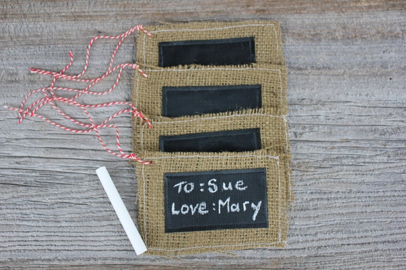4 Christmas Tags - burlap tags with candycane baker's twine - ready to ship