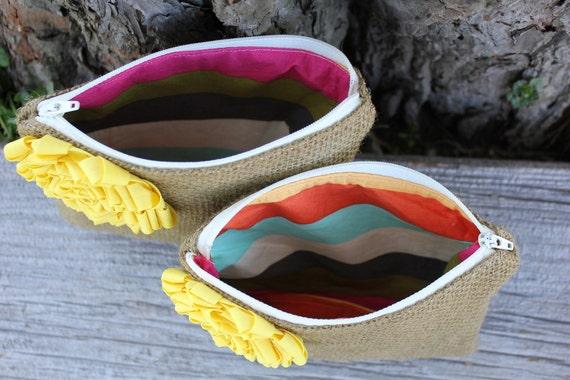 Custom Order For Ashley- Set of 2 Wedding Clutches - Wedding Bags - Bridal Party - Bridesmaid Clutch - yellow flower - rainbow stripes