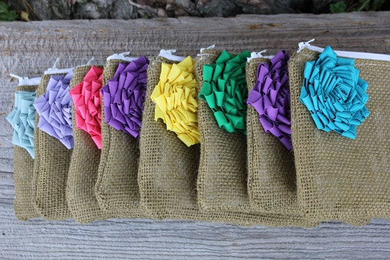 8 Rainbow Bridesmaid Clutches, Bridesmaid Gifts, Bridal Party Gifts, Burlap Clutches, Burlap Bags, Custom Wedding Gifts, Maid of Honor Gift
