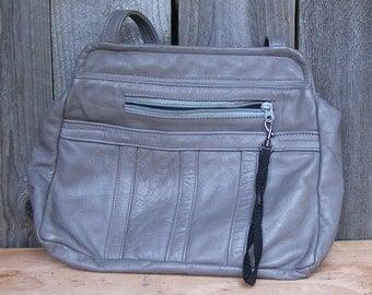 Vintage Grey Leather Purse