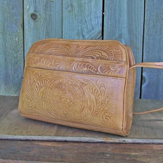 Vintage Handtooled Aztec Calendar Leather Purse